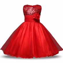 Buy Red Flower Princess Wedding Dress Girl Sequin Tulle Dresses Children Clothing Ball Gown Girls Clothes Kids Party Dresses Summer for $7.99 in AliExpress store