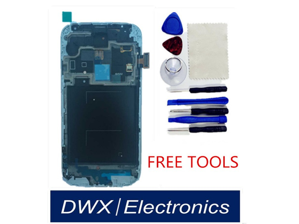 Original LCD Display Touch Screen Digitizer with Frame Replacement Assembly For Samsung Galaxy S4 SIV i9500 free shipping