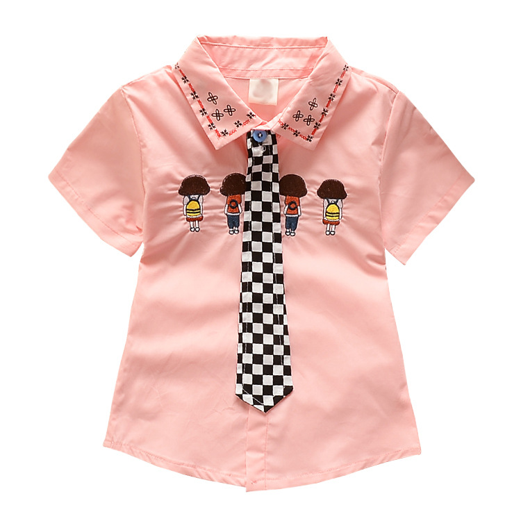 2015 Summer Style Girls Shirt With Tie Embroidery Baby Boys Blouse Brand a Children's School Formal Clothing Top Kids Fashion(China (Mainland))