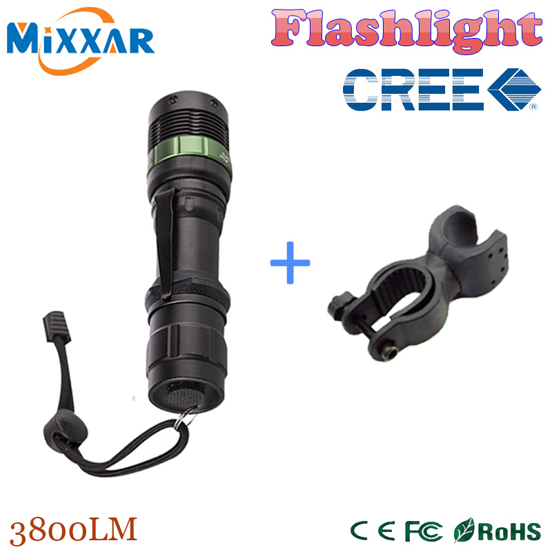 zk35 CREE XM-L 3800 Lumen Zoomable Q5 LED Flashlight Torch Zoom Lamp Light Black led bike lights bicycle led light and holder(China (Mainland))