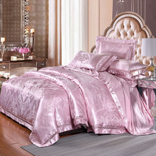 KELUO Jacquard Silk Cotton Luxury Bedding Set King Size Bed Set Lace Duvet Cover Bed Sheet Pillow case Wedding Champagne color(China)