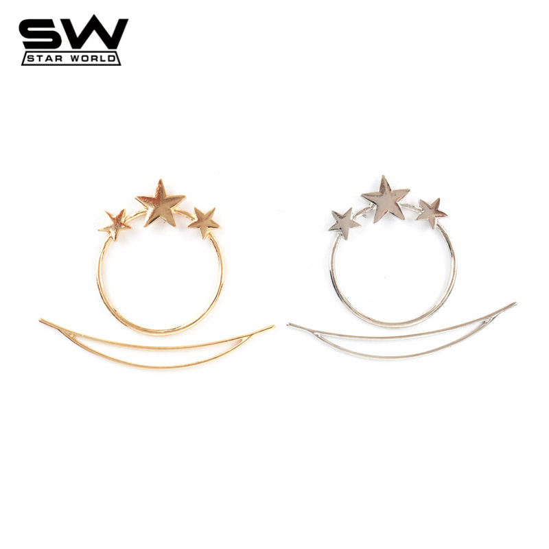 STARWORLD Hot Stars&Boat Gold&Silver Plated Hair Pins Hair accessories Western Minimalist Hair Jewelry for Women 2016 F005(China (Mainland))