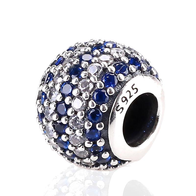Hot Sale 925 Sterling Silver Bead Charm Fashion Blue Interval Crystal Beads Fit Women DIY Pandora Bracelets & Bangles YBD197(China (Mainland))