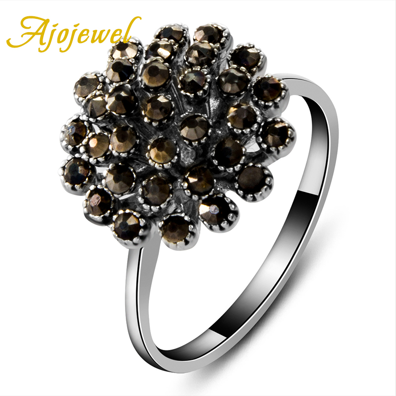 Anillos De Plata Ajojewel Cute Retro Style Black CZ Stone Trendy Women's Black Ring Flower(China (Mainland))