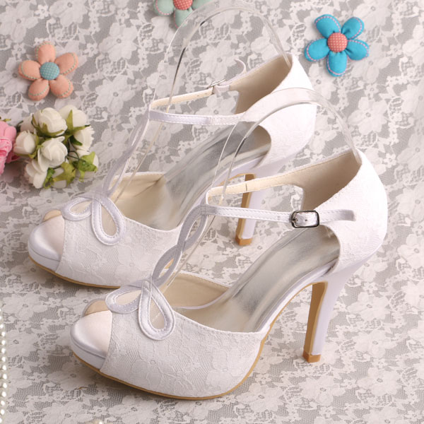Wedopus MW312 T Strap Summer Platform Women Sandals High Heels White Bridal Wedding Shoes Small