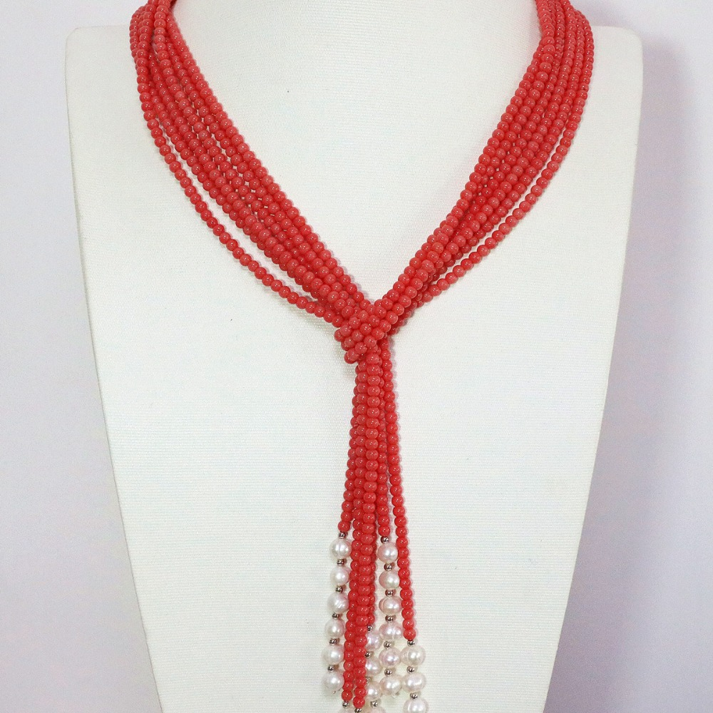 Trendy pink orange artificial coral 5mm round beads white lovely pearl 3 strands new fashion scarf necklace 50inch B1447(China (Mainland))