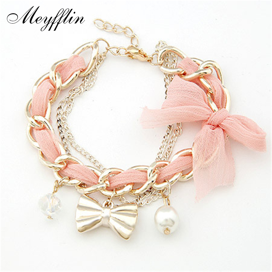 bracelets for pulseras fashion gold bow charm