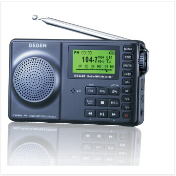 DEGEN DE1129 FM-Stereo/AM/SW DSP ATS 4GB MP3 Player Recorder Portable Intelligent Multifunctional LED Digital Radio Receiver(China (Mainland))