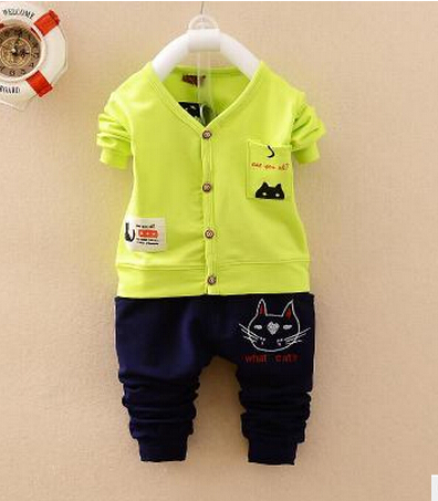 .2016 Baby Go Go Baby Girl Boy Clothes Hello Kitty Clothing Cardigan+Pants Baby Set Suit Long Sleeve 0-3T 3 color optional .(China (Mainland))
