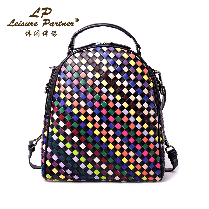 New 2016 Fashion Genuine Leather Women Backpack Handmade Knitting 100% Sheepskin Backpack Famous Brand Women Bag Multifunction(China (Mainland))
