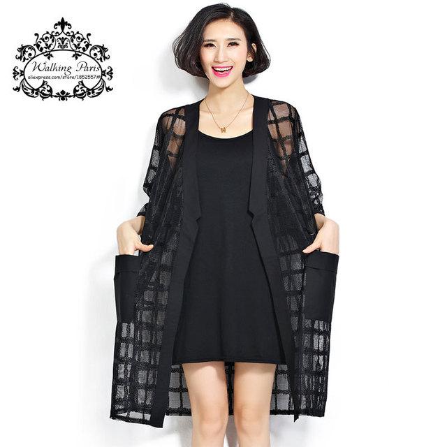 Новый Плюс Размер Шифон Пальто Летом Стиль Моды женской Одежды большой Размер Черный ...