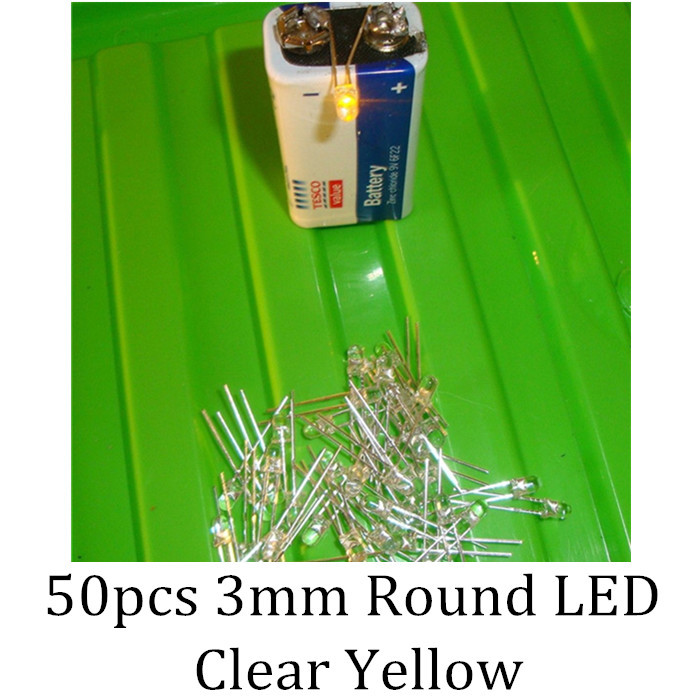 50pcs 3mm Round LED Clear Yellow LED Light Diodes(China (Mainland))