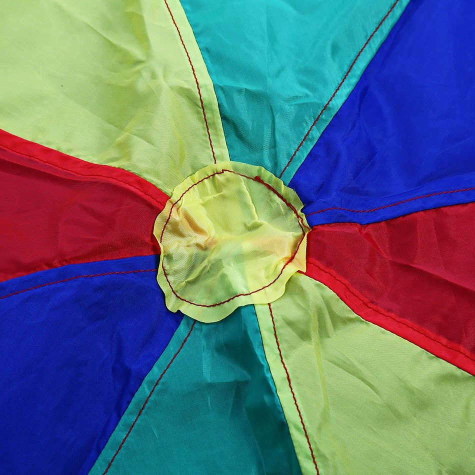 2m Colorful Children Kids Outdoor Sports Game Rainbow Umbrella Parachute Toy Early Education Developmental Parachute Toy(China (Mainland))