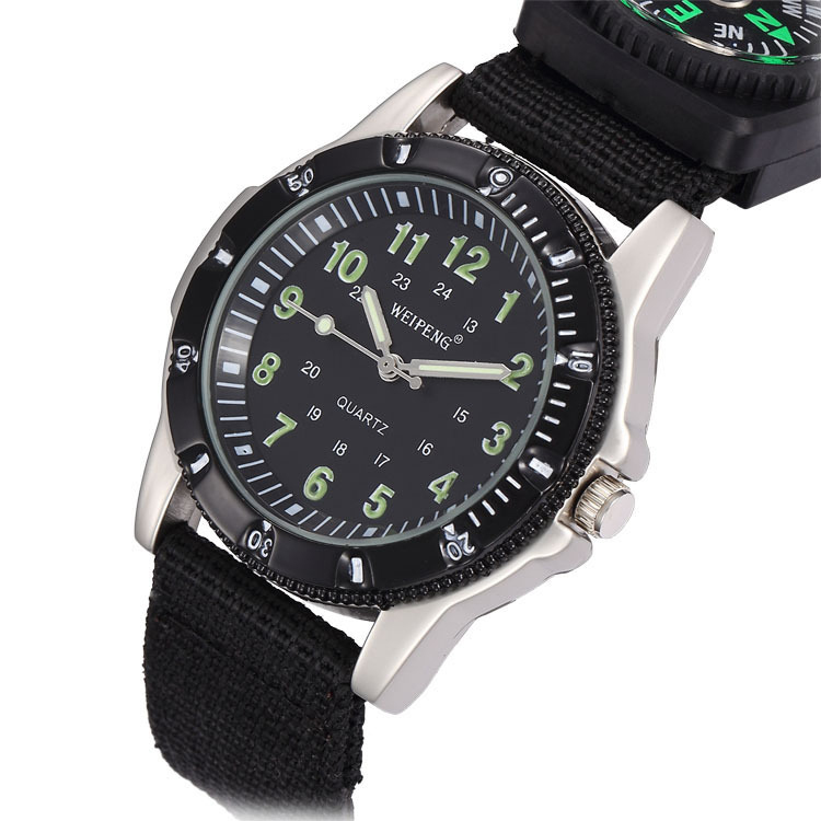 Fashion retro 4 colors outdoor sport watch military watches with compass function nylon strap for Watches with compass