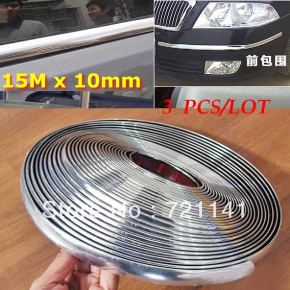 A31,Free Shipping 3pcs/lot 15M 10mm Car Auto Chrome DIY Moulding Trim Strip For Window Bumper Grille Silver Y106<br><br>Aliexpress
