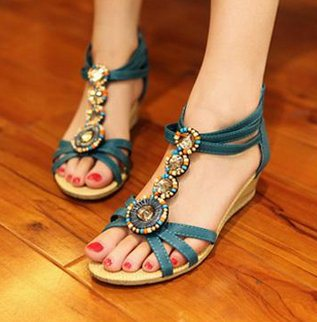 2015 New Fashion Woman Sandals Bohemia Cool Beads Open Toe Wedge Sandals Mid Heel Women Summer Platform Shoes(China (Mainland))