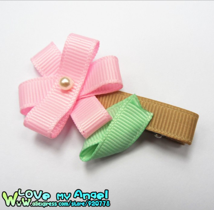 Baby Girl Bouquet Ribbon hair bow clips Ribbon sculpture flowers Hair clippies Ribbon flower hair clips 36pcs/lot(China (Mainland))