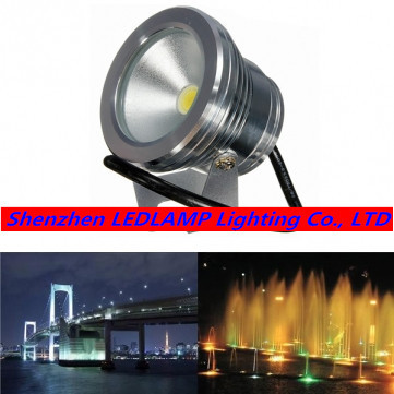 Factory promotion!!! 10W LED Underwater Light Waterproof LED Fountain Pool Pond Landscape Lamp Decoration Light Warm/Cold White(China (Mainland))