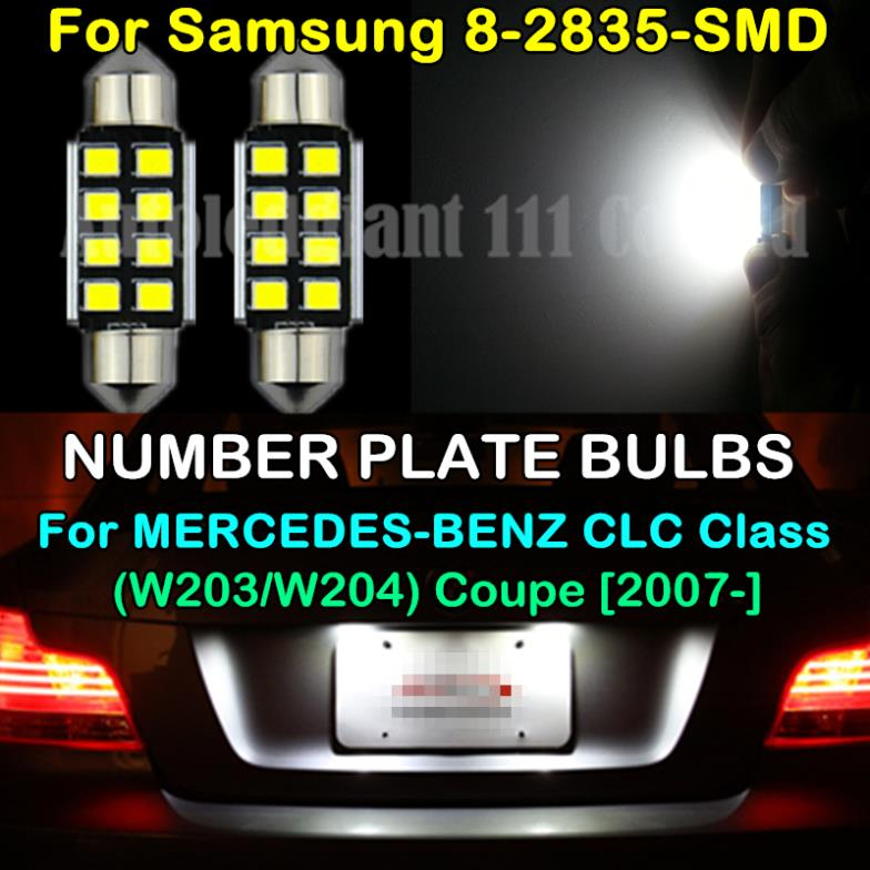 2x CANBUS 2835SMD WHITE LED 39mm C5W 272 NO EEROR LIGHT NUMBER PLATE BULB FOR MERCEDES BENZ CLC Class W203 W204 Coupe 2007 -UP - PJ Auto Tech Lighting store