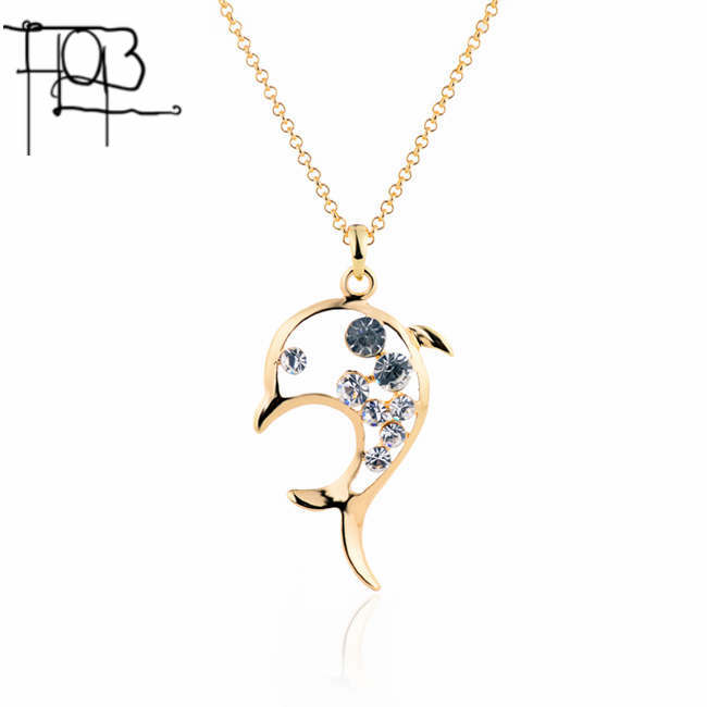 18K Gold Rhinestone Filled Cute Dolphin Necklaces & Pendants For Women Long Necklacees Wholesales(China (Mainland))