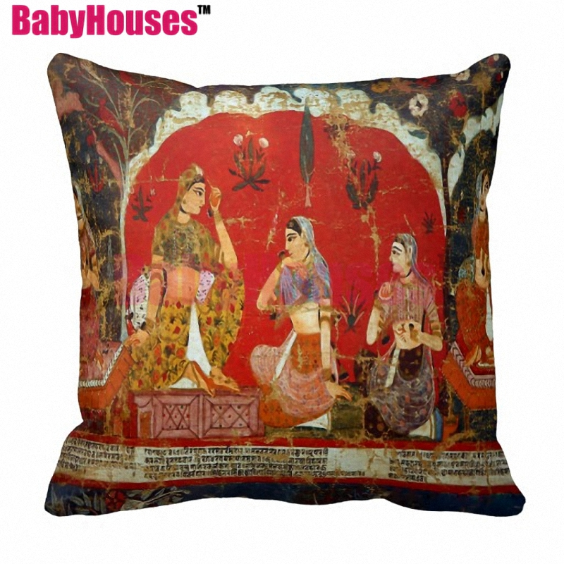 Ancient Greece Egypt Ethnic tribal elephant Buddhism zen Murals Printing Vintage Throw Pillows for Sofa Decorative