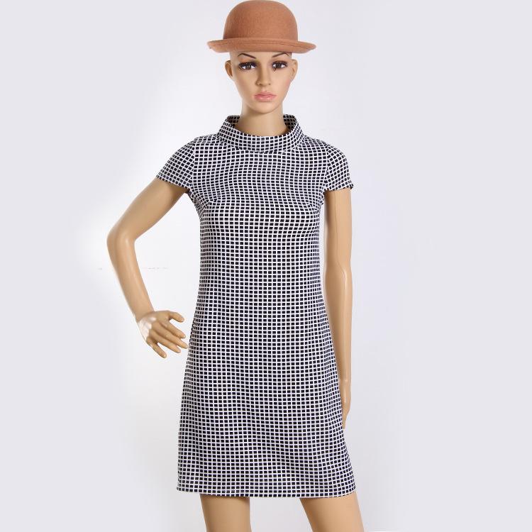 S-XXL 2015 summer new women's fashion casual short-sleeved dress retro black white plaid elegant collar Slim - Fashionable Museum store