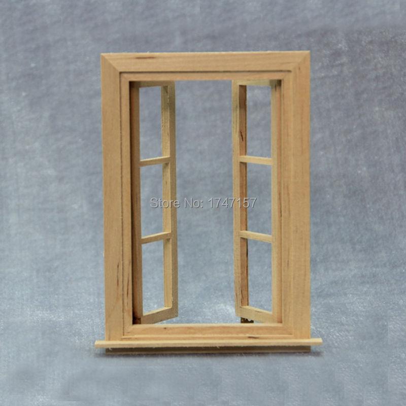 2pcs lot diy doll house window 1 12 scale wood miniature for Affichage fenetre miniature windows 7