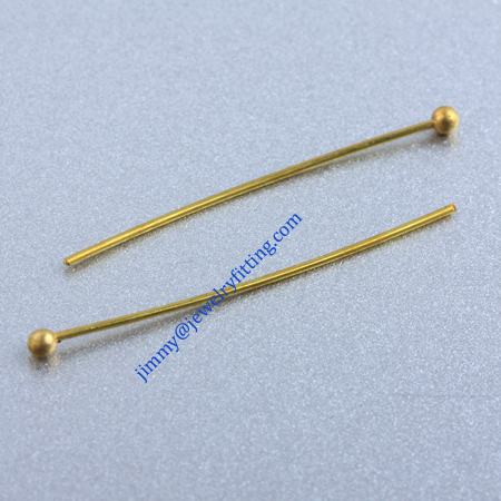 Jewelry Making findings Raw brass metal Ball head Pins Ball pins wholesale 0.6*30mm with 2mm beads shipping free