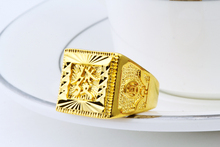 Large square rings 22K gold plated anniversary rings for men husband gift