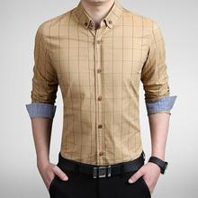 2016 New Autumn Fashion Brand Men Clothes Slim Fit Men Long Sleeve Shirt Men Plaid Cotton Casual Men Shirt Social Plus Size 5XL(China (Mainland))