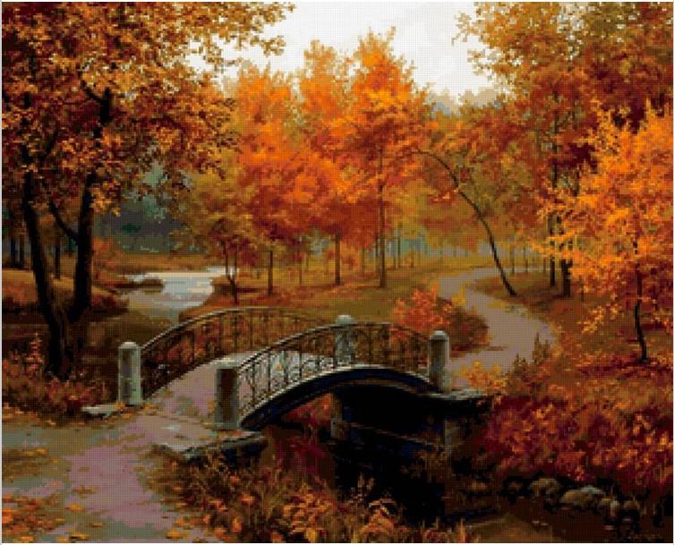 Autumn Bridge Painting Autumn Forest Bridge
