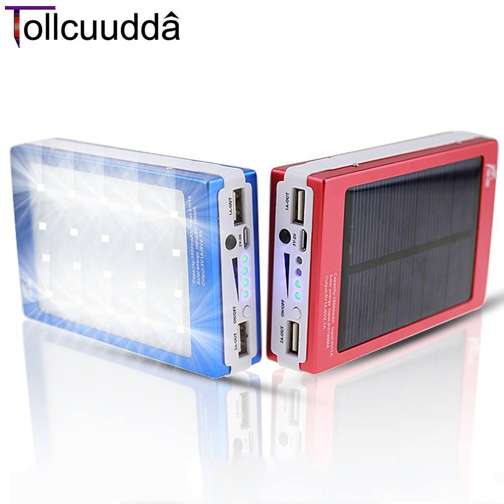 Tollcuudda Mobile Phone Solar Poverbank Power Bank Supply Portable Usb Universal Fast Charger Battery Box Holder LED Light Lamp(China (Mainland))