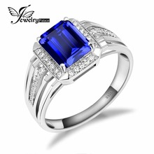 Wholesale 4.7ct Blue Sapphire Wedding Engagement Ring Gem Stone For Men Genuine Solid 925 Sterling Sliver Brand New Jewelry(China (Mainland))