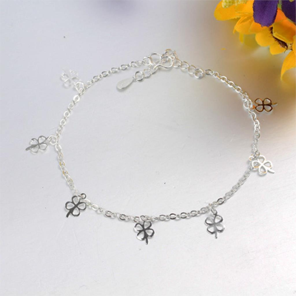 2016 New Fashion Silver Plated Clover Anklets Fine Jewelry Women Big Brand Charm Leg Pendant Foot Bracelets Christmas Gift - Jiayiqi Flagship Store store