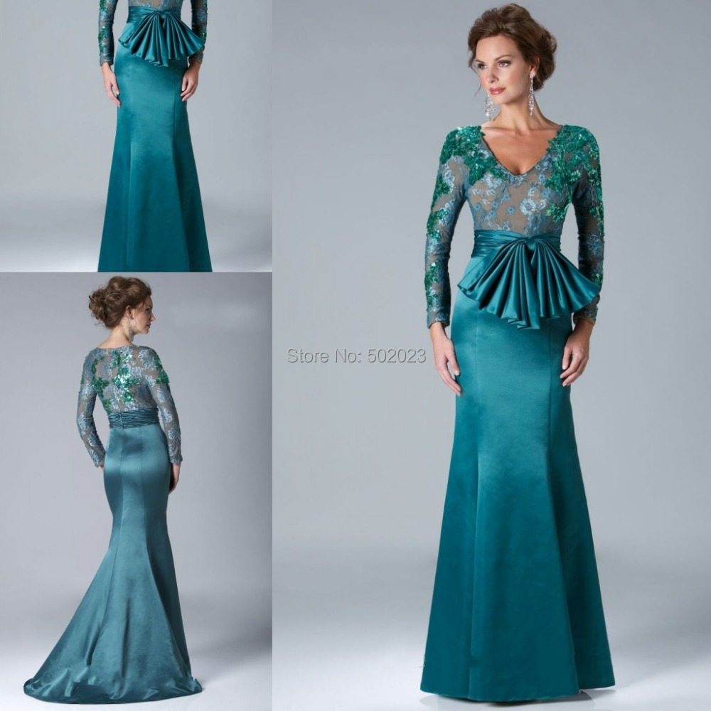 Satin V-Neck Applique Sheer Long Sleeve Hunter Mermaid Evening Dress 2015 Prom Dresses Party Gown YJM1560 - Suzhou Yuanyi Wedding Dress& Factory store