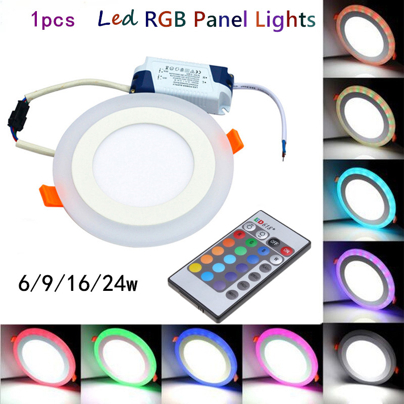 1pcs Hot sales colorful LED Panel Downlight 6W 9W 16W 24W RGB Panel Light AC85-265V Recessed Ceiling Lamp led Ceiling lamp(China (Mainland))