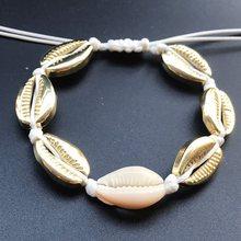 Hot Sale Handmade Natural Seashell Hand Knit Bracelet Shells Bracelets Women Accessories Beaded Strand Bracelet(China)