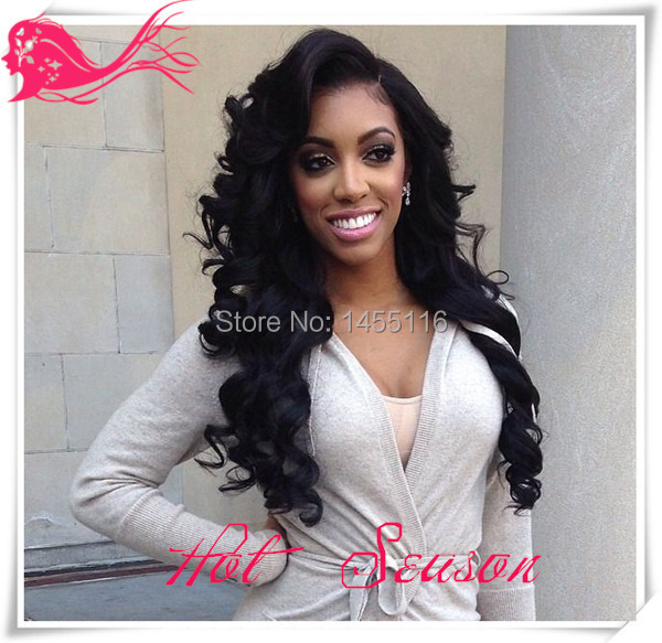 8A Beauty Brazilian Wavy Lace Front Wig Human Hair Virgin Natural Color Body Wave Full Lace Wigs With Side Part Free Ship(China (Mainland))