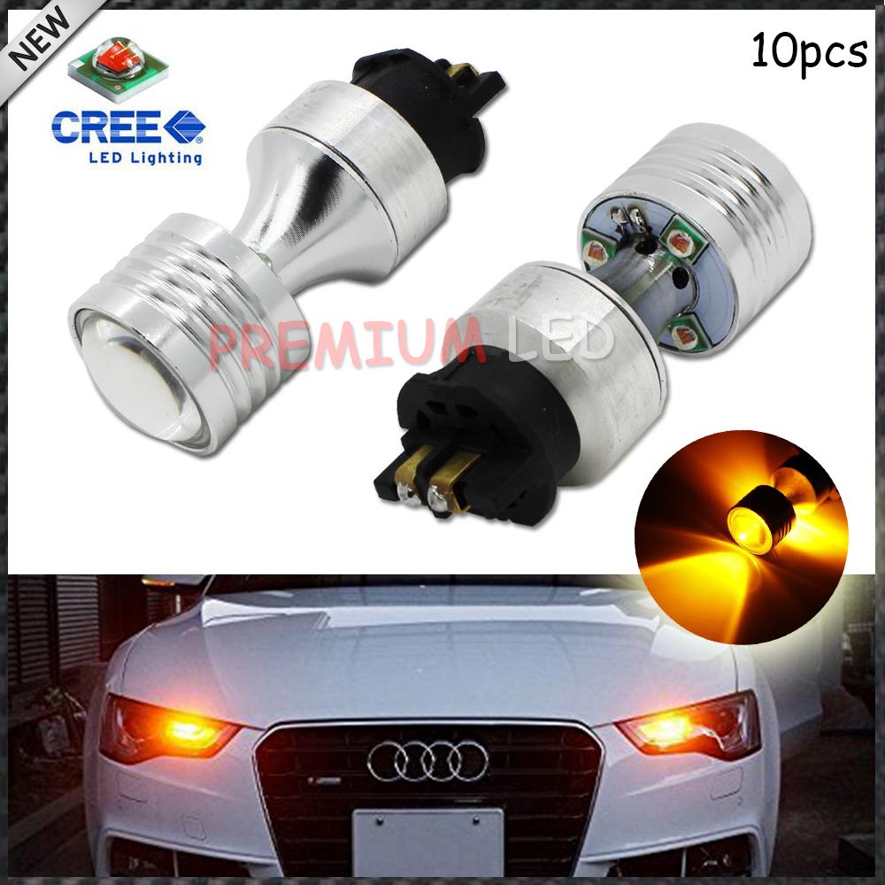 10pcs Amber  Error Free PWY24W PW24W CREE XP-E LED Bulbs For Audi A3 A4 A5 Q3 VW MK7 Golf CC Front Turn Signal Lights,DRL Lamps<br><br>Aliexpress
