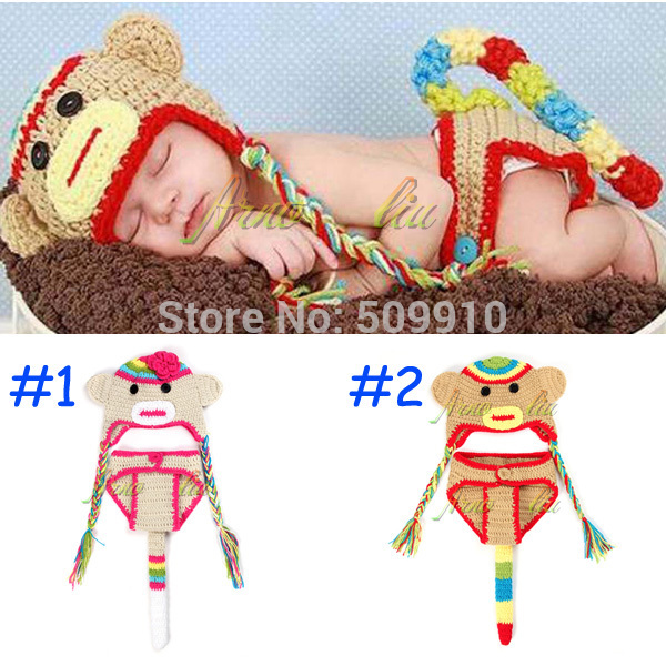 Wholesale Factory Children accessories Newborn Photography Props Handmade Crochet Baby Monkey Hat and Shorts set 0-12 Months(China (Mainland))