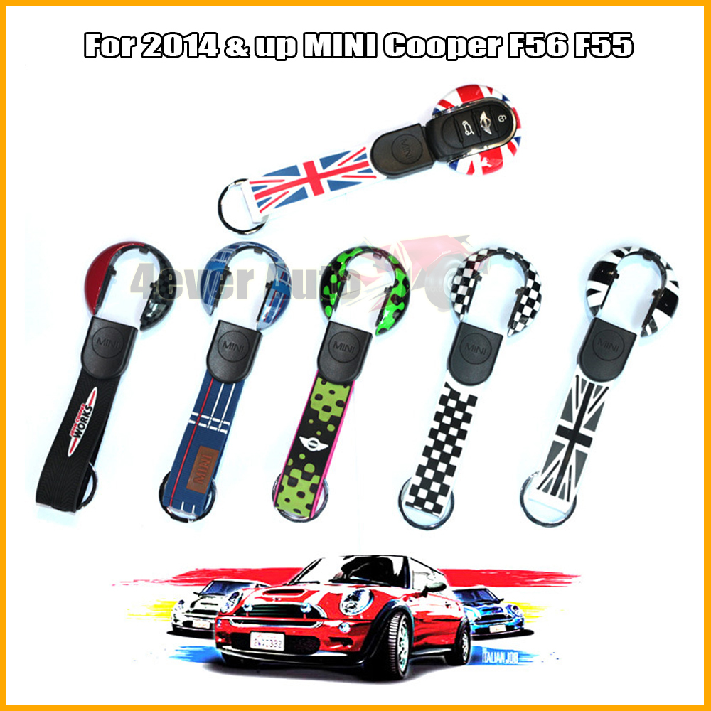 (1) Union Jack Style Key Case Cover Shell w/ Lanyard For 3rd Gen MINI Cooper F55 F56 Smart Key(China (Mainland))