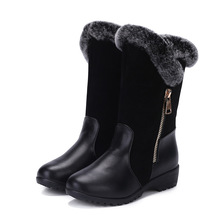 2016 new brand to keep warm in winter Female boots waterproof shoes rabbit hair Rain snow wood slippery fenty women ugs popula(China (Mainland))