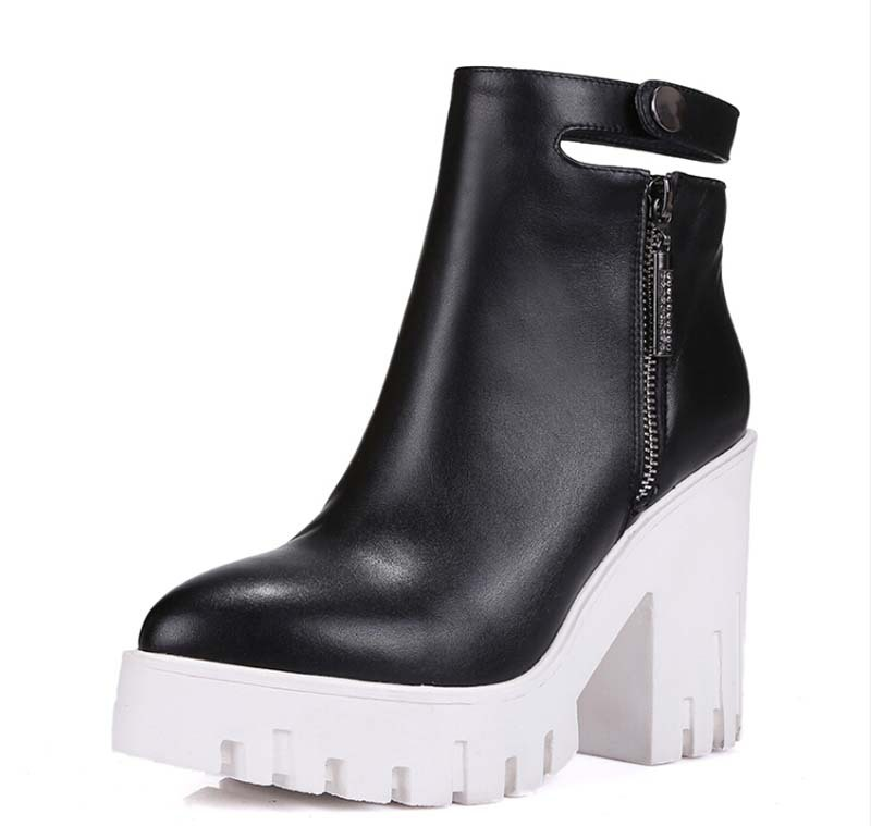 new boots size 34-39 shoes women winter boots high heels women boots round toe platform leather boots martin sale<br>