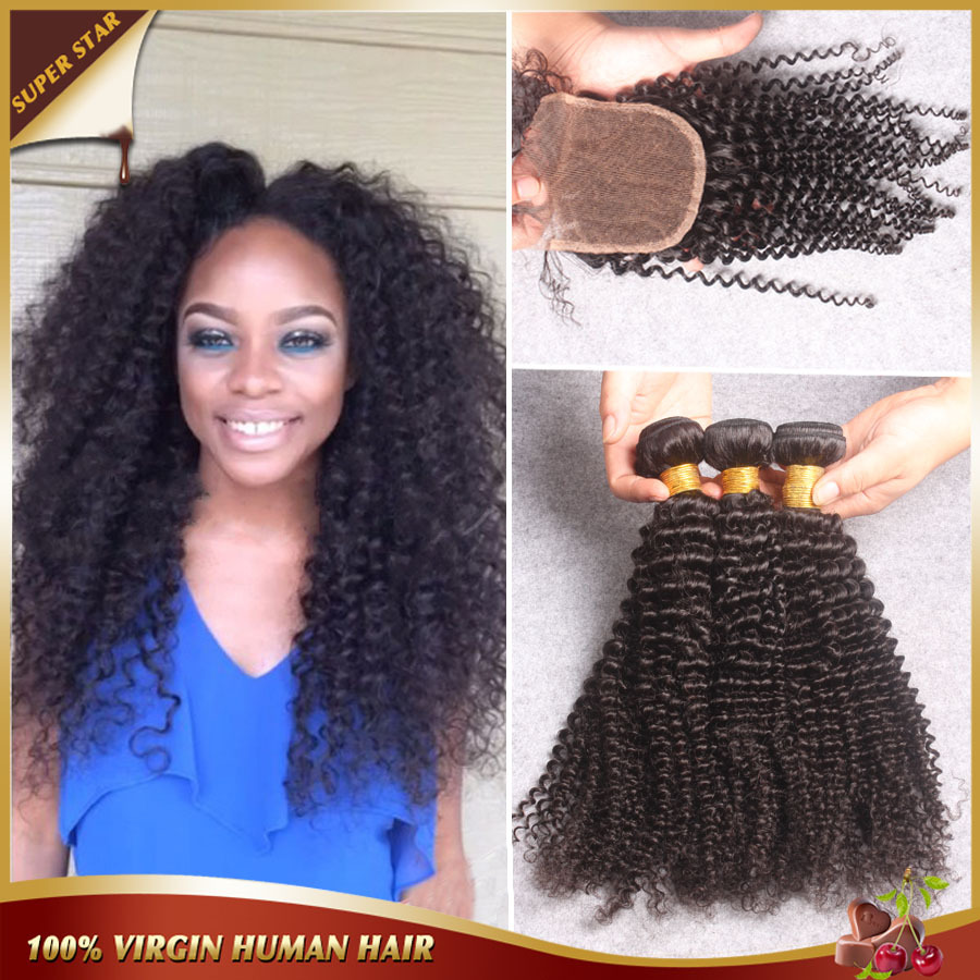 6A Mongolian Kinky Curly Hair With Closure,Afro Kinky Curly Virgin Hair With Closure,Cheap 3 Bundles With Closure Bleached Knots