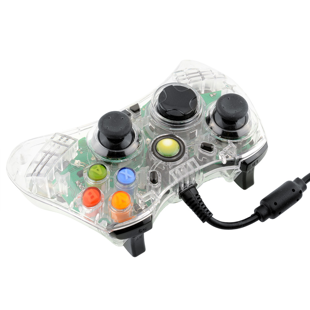 Hot USB Wired Green LED Clear Controller For Microsoft For XBOX 360 Video Games Accessories for xbox<br><br>Aliexpress