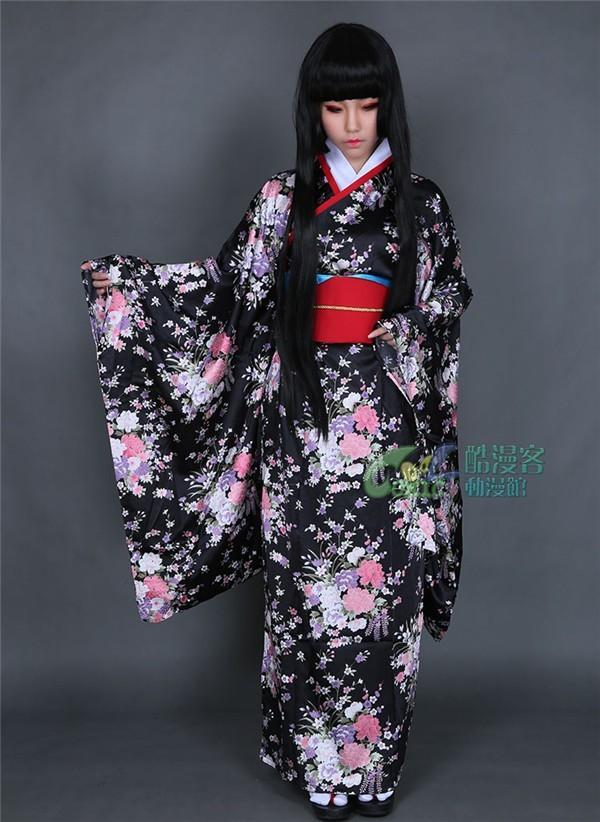 Hot Anime Hell Girl Ai Enma Cosplay Costume Black Kimono