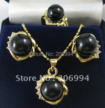 imitation jewelry black freshwater pearl Pearl Earring rings Pendant Necklace set #0358(China (Mainland))