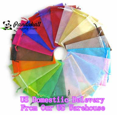 200pcs/lot 12x10cm organza gift bags mix color custom jewelry pouch for Christmas/wedding candy packaging Pandahall DIY supplier(China (Mainland))