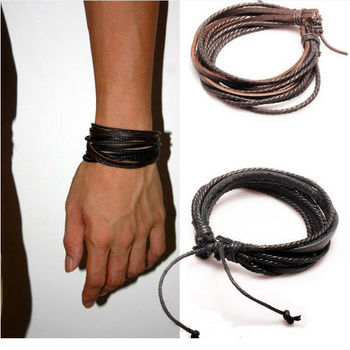 2015 New Arrival Wrap Leather Bracelet Black and Brown Braided Rope for Men and Women Charms Fashion Man Jewelry PI0246