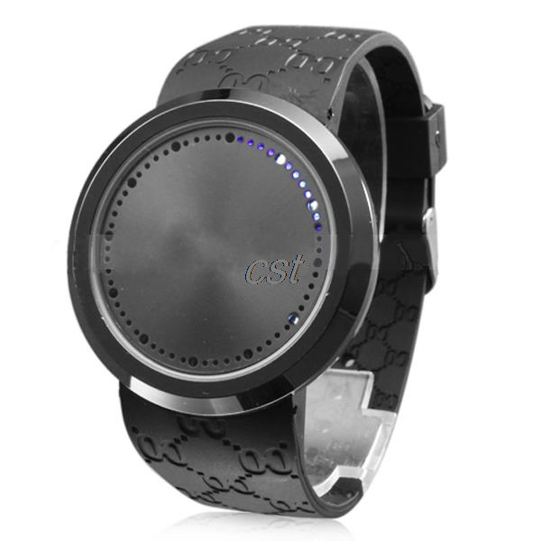 Wholesale Fashion Cool Men s Wristwatch Touch Screen Circular Pattern Day Date Silicone Sport LED Black